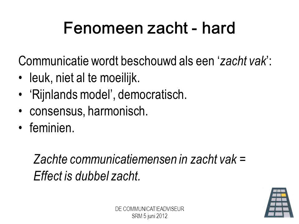 DE COMMUNICATIEADVISEUR SRM 5 juni 2012 Fenomeen zacht - hard Communicatie wordt beschouwd als een ' zacht vak ': •leuk, niet al te moeilijk.