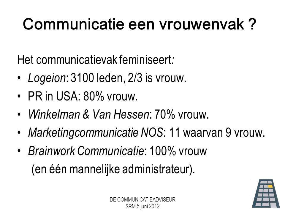 DE COMMUNICATIEADVISEUR SRM 5 juni 2012 Communicatie een vrouwenvak .