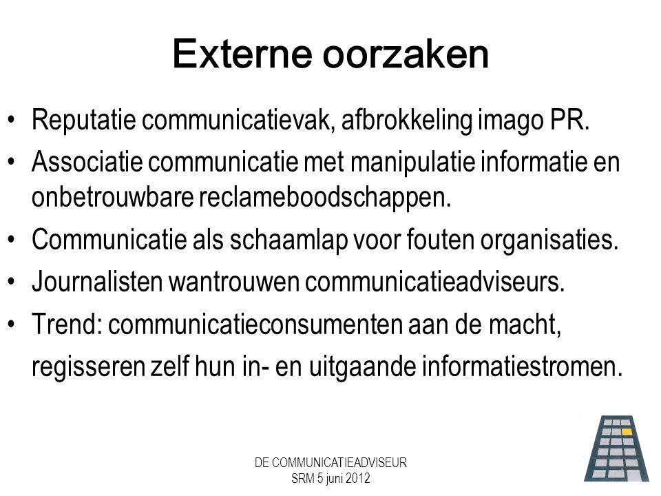 DE COMMUNICATIEADVISEUR SRM 5 juni 2012 Externe oorzaken •Reputatie communicatievak, afbrokkeling imago PR.