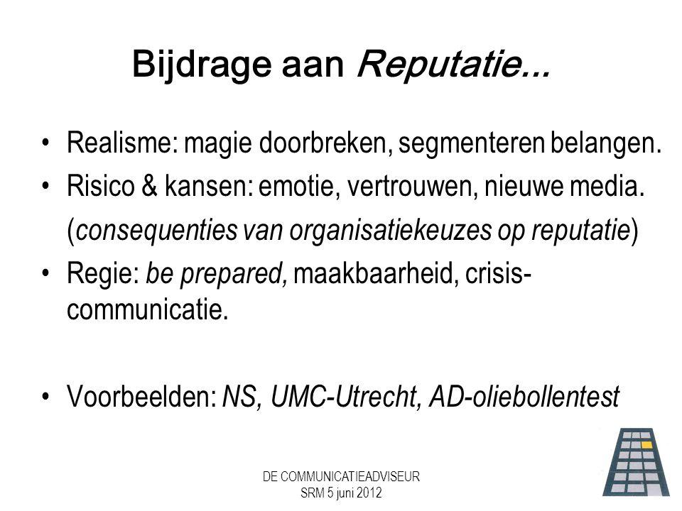 DE COMMUNICATIEADVISEUR SRM 5 juni 2012 Bijdrage aan Reputatie...