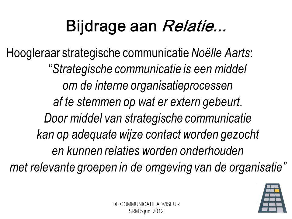 DE COMMUNICATIEADVISEUR SRM 5 juni 2012 Bijdrage aan Relatie...