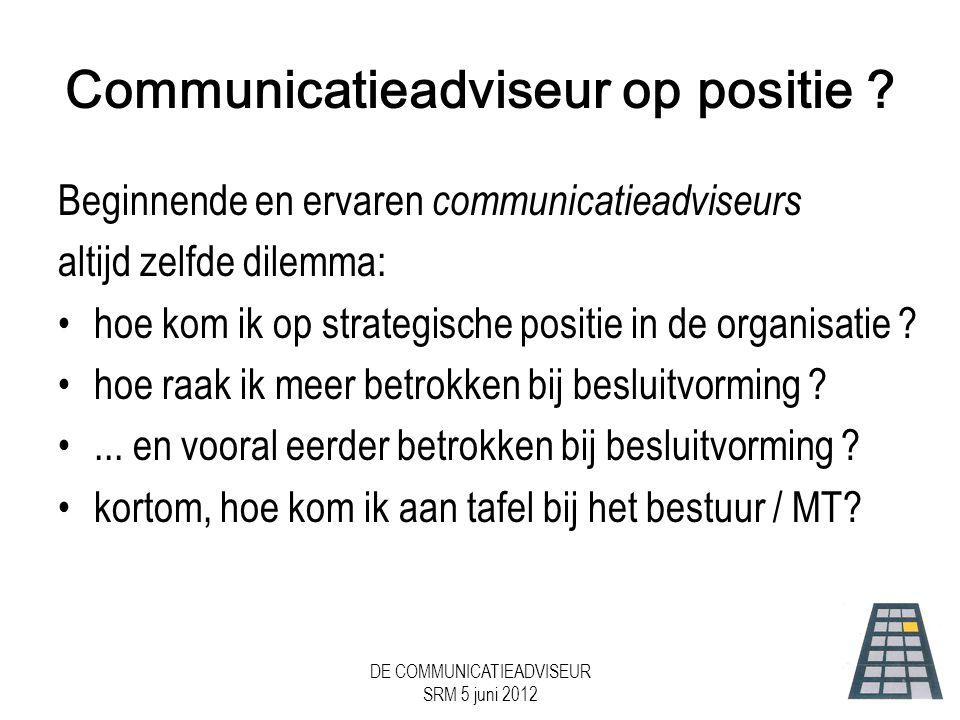 DE COMMUNICATIEADVISEUR SRM 5 juni 2012 Communicatieadviseur op positie .