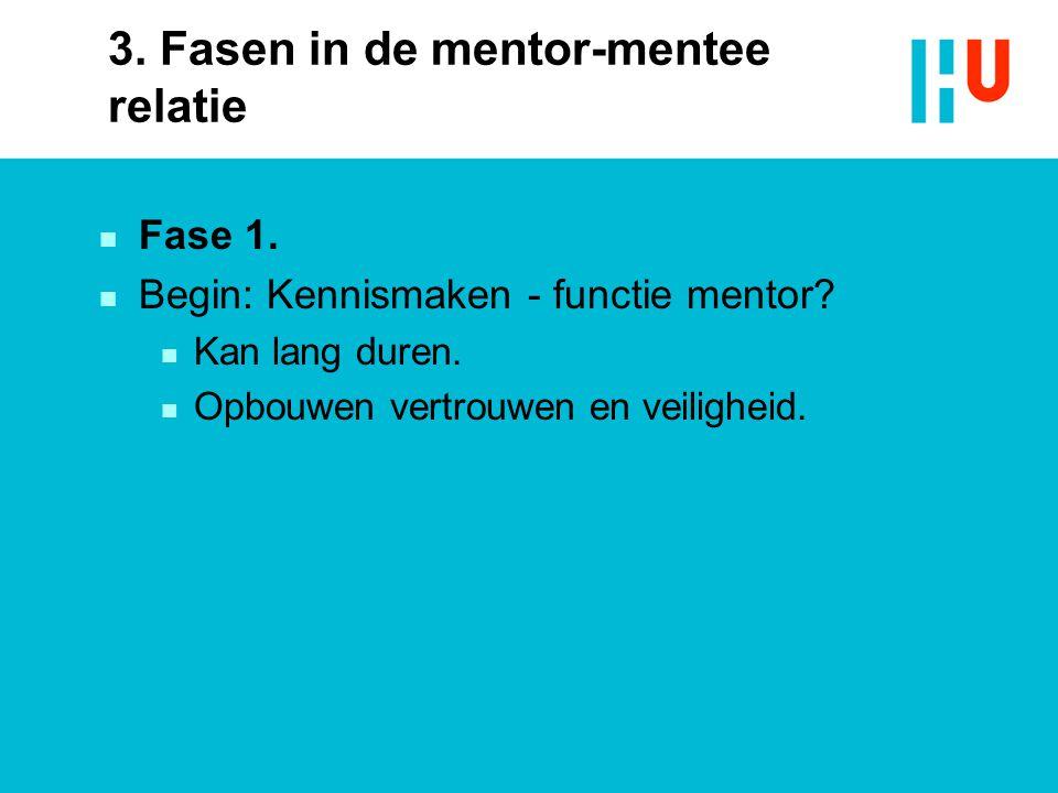 3. Fasen in de mentor-mentee relatie n Fase 1. n Begin: Kennismaken - functie mentor? n Kan lang duren. n Opbouwen vertrouwen en veiligheid.