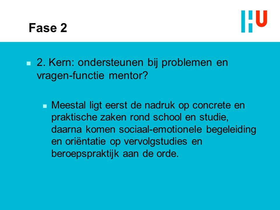 Fase 2 n 2. Kern: ondersteunen bij problemen en vragen-functie mentor? n Meestal ligt eerst de nadruk op concrete en praktische zaken rond school en s