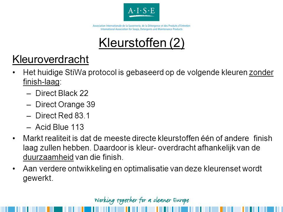 Kleurstoffen (2) Kleuroverdracht •Het huidige StiWa protocol is gebaseerd op de volgende kleuren zonder finish-laag: –Direct Black 22 –Direct Orange 3