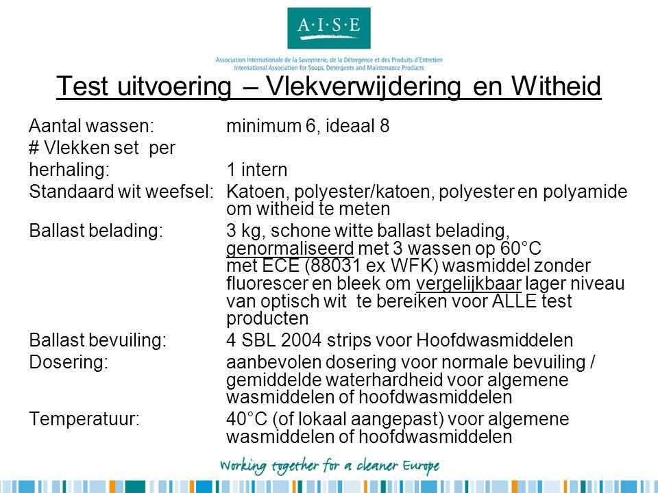 Test uitvoering – Vlekverwijdering en Witheid Aantal wassen: minimum 6, ideaal 8 # Vlekken set per herhaling:1 intern Standaard wit weefsel:Katoen, po