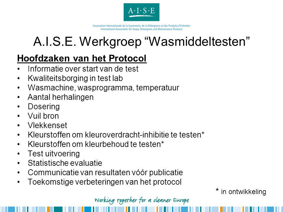 Hoofdzaken van het Protocol •Informatie over start van de test •Kwaliteitsborging in test lab •Wasmachine, wasprogramma, temperatuur •Aantal herhaling