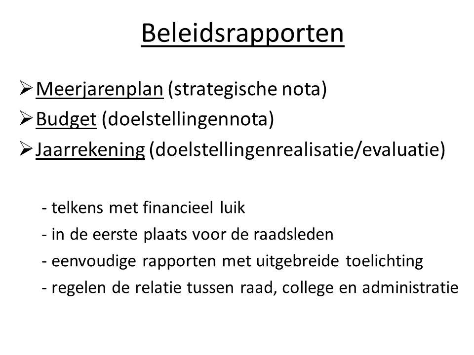 Beleidsrapporten  Meerjarenplan (strategische nota)  Budget (doelstellingennota)  Jaarrekening (doelstellingenrealisatie/evaluatie) - telkens met f