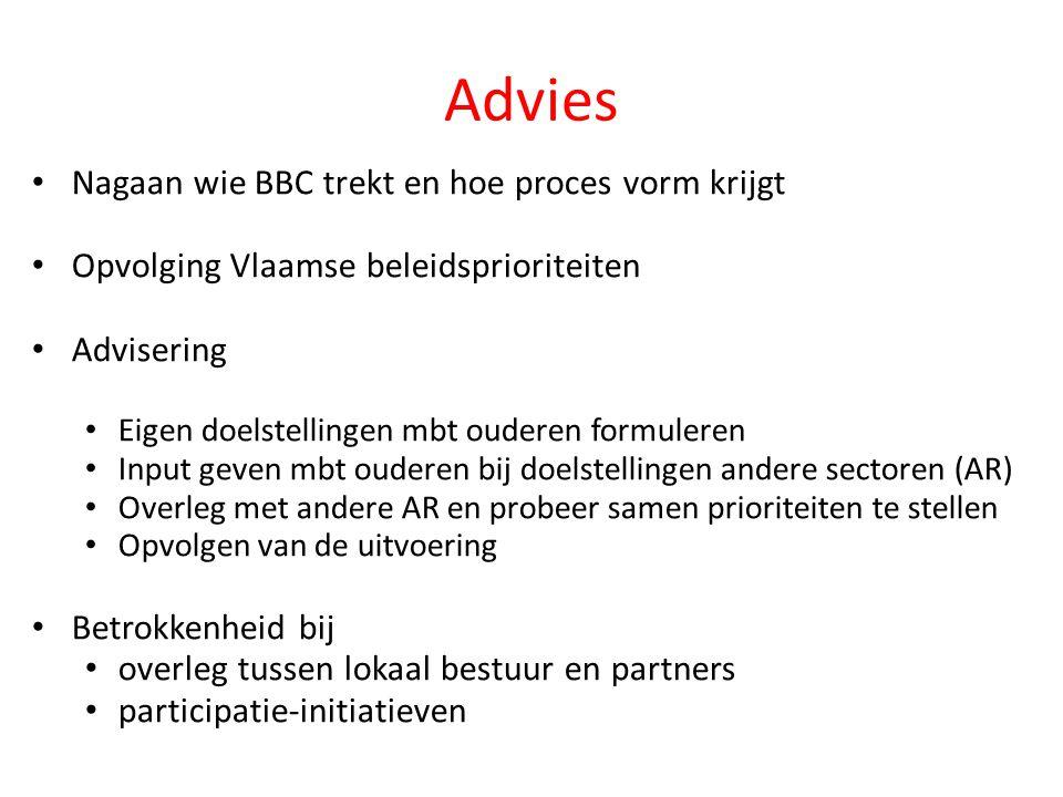 Advies • Nagaan wie BBC trekt en hoe proces vorm krijgt • Opvolging Vlaamse beleidsprioriteiten • Advisering • Eigen doelstellingen mbt ouderen formul