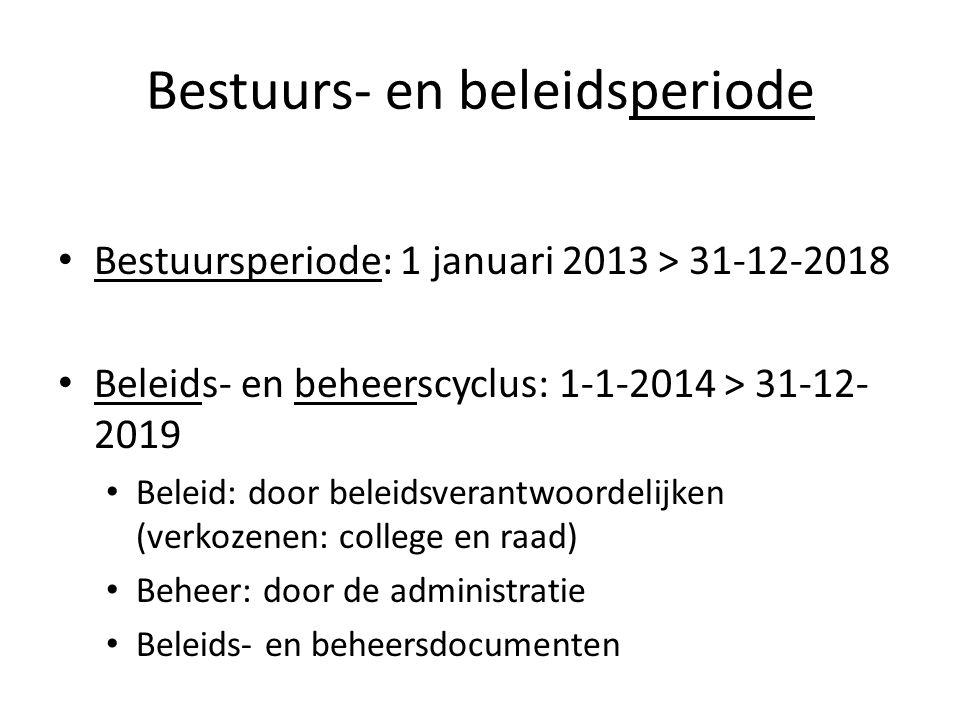 Bestuurs- en beleidsperiode • Bestuursperiode: 1 januari 2013 > 31-12-2018 • Beleids- en beheerscyclus: 1-1-2014 > 31-12- 2019 • Beleid: door beleidsv