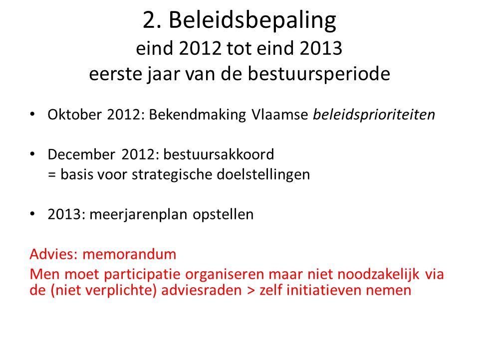 2. Beleidsbepaling eind 2012 tot eind 2013 eerste jaar van de bestuursperiode • Oktober 2012: Bekendmaking Vlaamse beleidsprioriteiten • December 2012