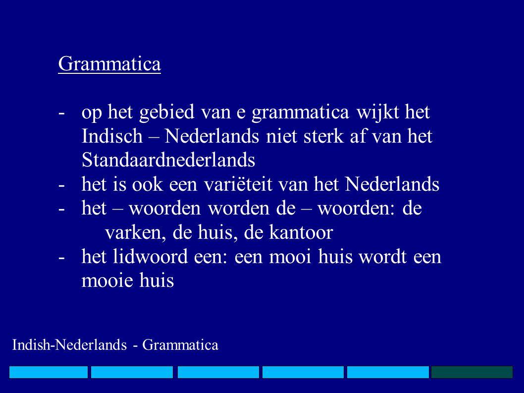 Grammatica -op het gebied van e grammatica wijkt het Indisch – Nederlands niet sterk af van het Standaardnederlands -het is ook een variëteit van het Nederlands -het – woorden worden de – woorden: de varken, de huis, de kantoor -het lidwoord een: een mooi huis wordt een mooie huis Indish-Nederlands - Grammatica
