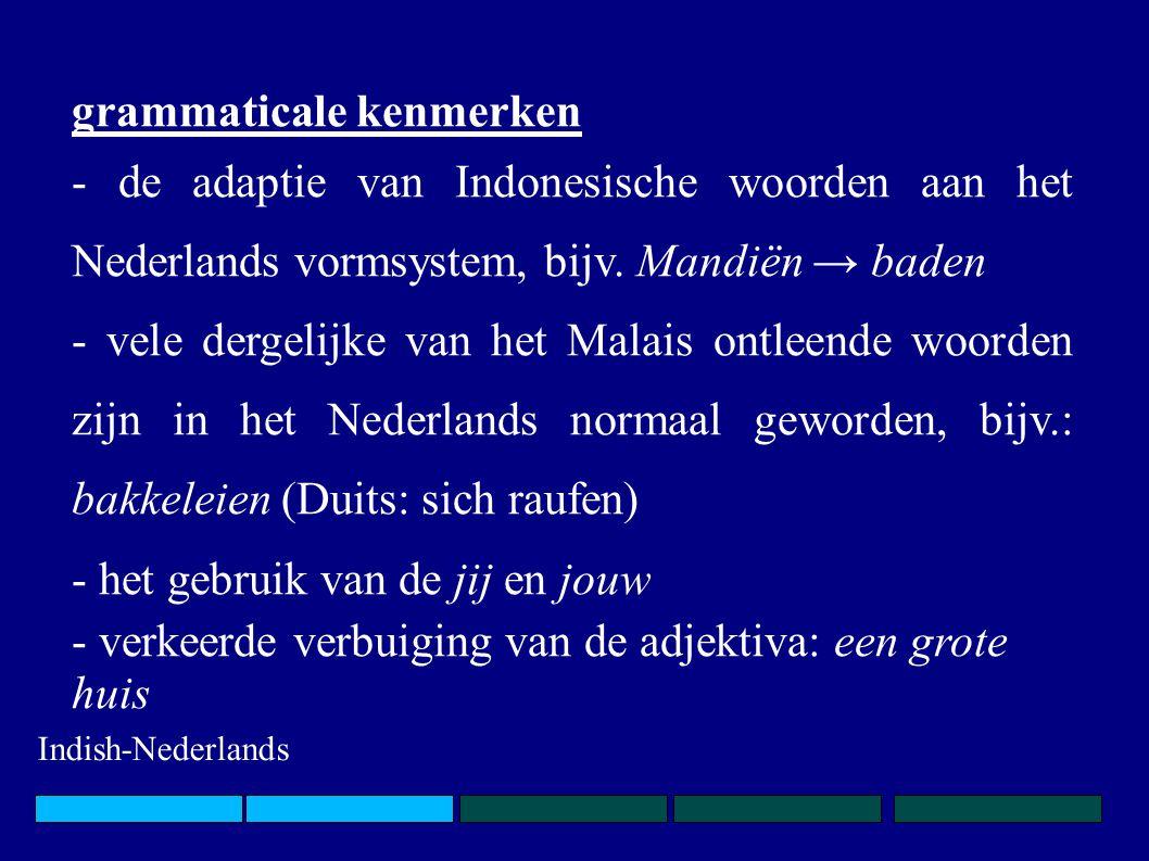 grammaticale kenmerken - de adaptie van Indonesische woorden aan het Nederlands vormsystem, bijv. Mandiën → baden - vele dergelijke van het Malais ont