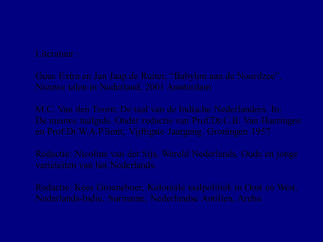 """Literatuur : Guus Extra en Jan Jaap de Ruiter, """"Babylon aan de Noordzee"""", Nieuwe talen in Nederland, 2001 Amsterdam M.C. Van den Toorn: De taal van de"""
