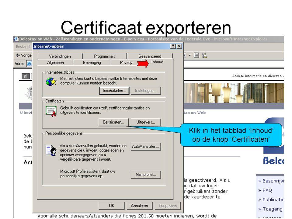 Certificaat opladen U kiest het profiel waarmee u wenst in te loggen; dit moet hetzelfde profiel zijn als waarmee u op PLDA-Web inlogt.