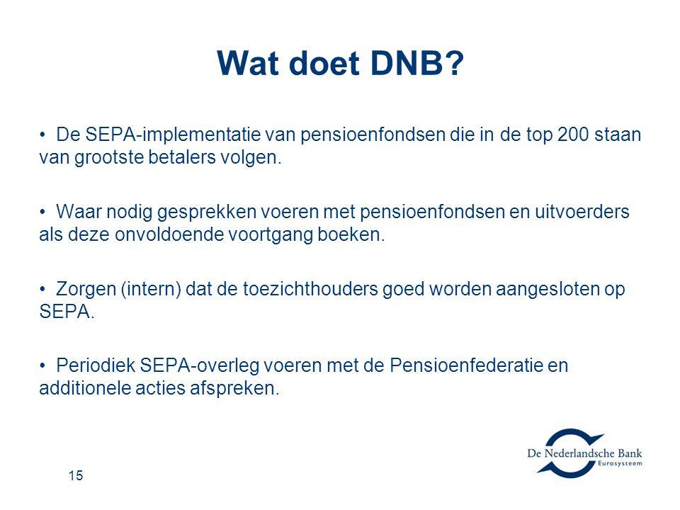 15 Wat doet DNB? • De SEPA-implementatie van pensioenfondsen die in de top 200 staan van grootste betalers volgen. • Waar nodig gesprekken voeren met