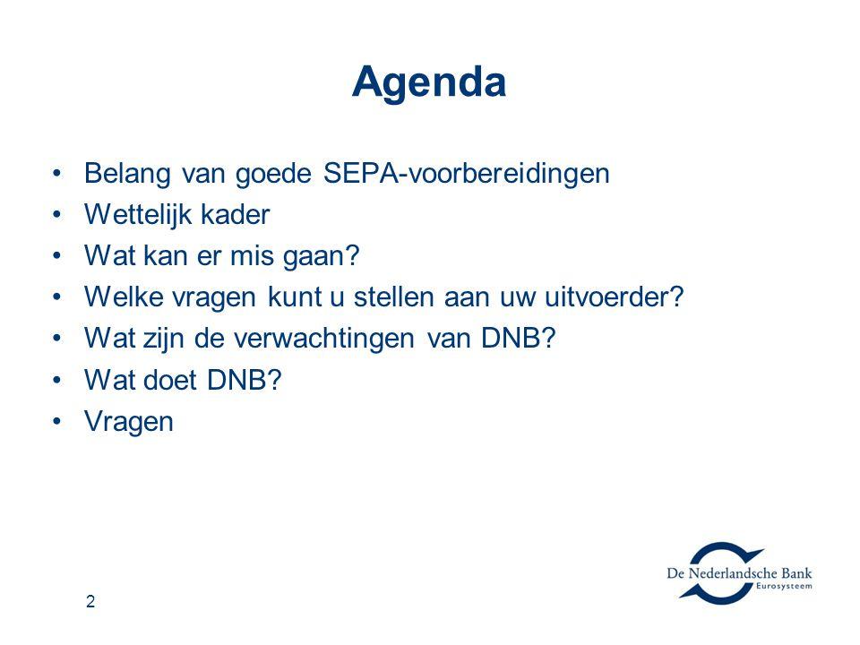 Agenda •Belang van goede SEPA-voorbereidingen •Wettelijk kader •Wat kan er mis gaan? •Welke vragen kunt u stellen aan uw uitvoerder? •Wat zijn de verw