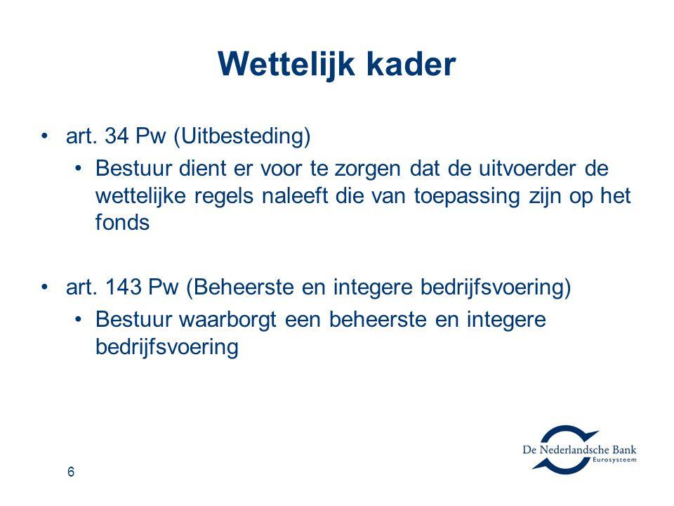 Wettelijk kader •art. 34 Pw (Uitbesteding) •Bestuur dient er voor te zorgen dat de uitvoerder de wettelijke regels naleeft die van toepassing zijn op