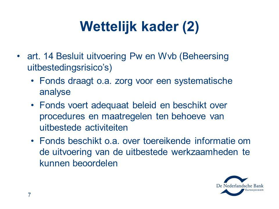Wettelijk kader (2) •art. 14 Besluit uitvoering Pw en Wvb (Beheersing uitbestedingsrisico's) •Fonds draagt o.a. zorg voor een systematische analyse •F