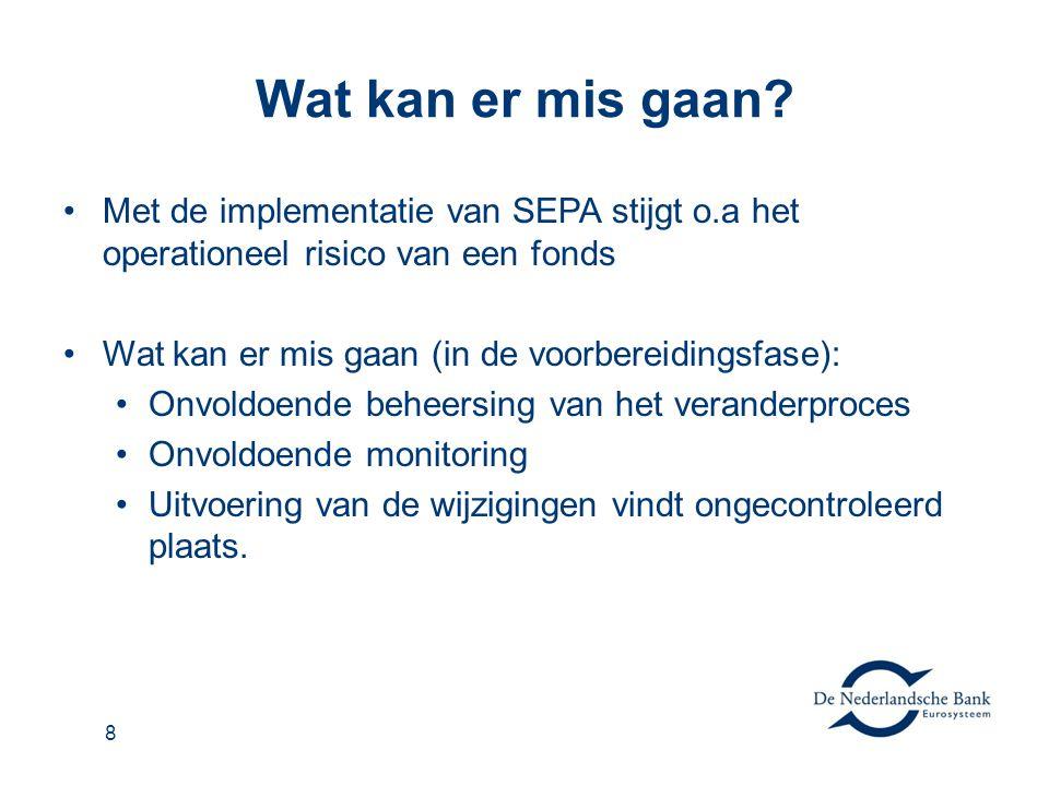 Wat kan er mis gaan? •Met de implementatie van SEPA stijgt o.a het operationeel risico van een fonds •Wat kan er mis gaan (in de voorbereidingsfase):