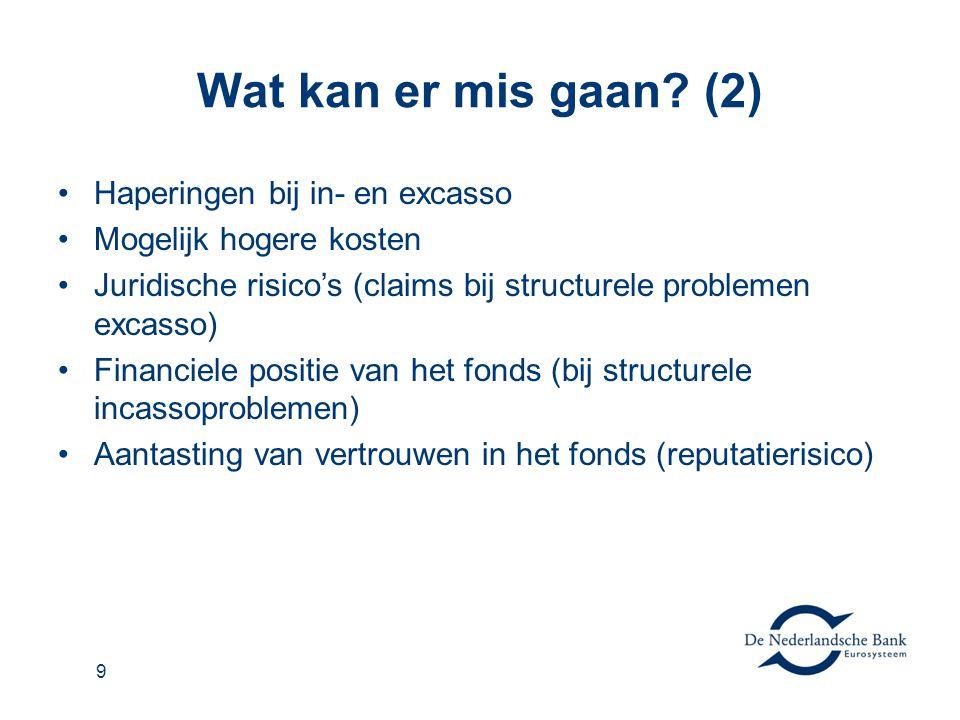 9 Wat kan er mis gaan? (2) •Haperingen bij in- en excasso •Mogelijk hogere kosten •Juridische risico's (claims bij structurele problemen excasso) •Fin