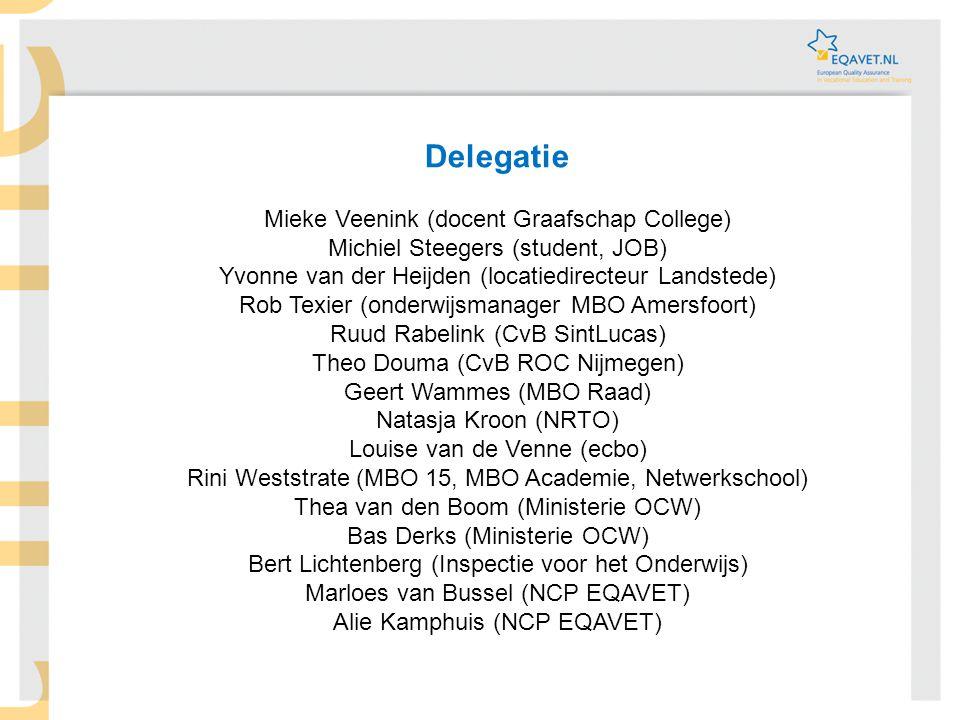 Delegatie Mieke Veenink (docent Graafschap College) Michiel Steegers (student, JOB) Yvonne van der Heijden (locatiedirecteur Landstede) Rob Texier (on