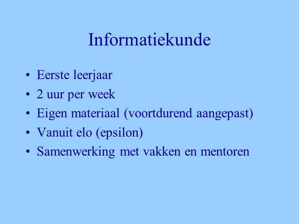 Informatiekunde •Eerste leerjaar •2 uur per week •Eigen materiaal (voortdurend aangepast) •Vanuit elo (epsilon) •Samenwerking met vakken en mentoren