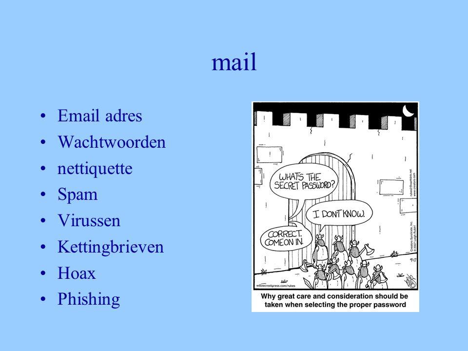 mail •Email adres •Wachtwoorden •nettiquette •Spam •Virussen •Kettingbrieven •Hoax •Phishing