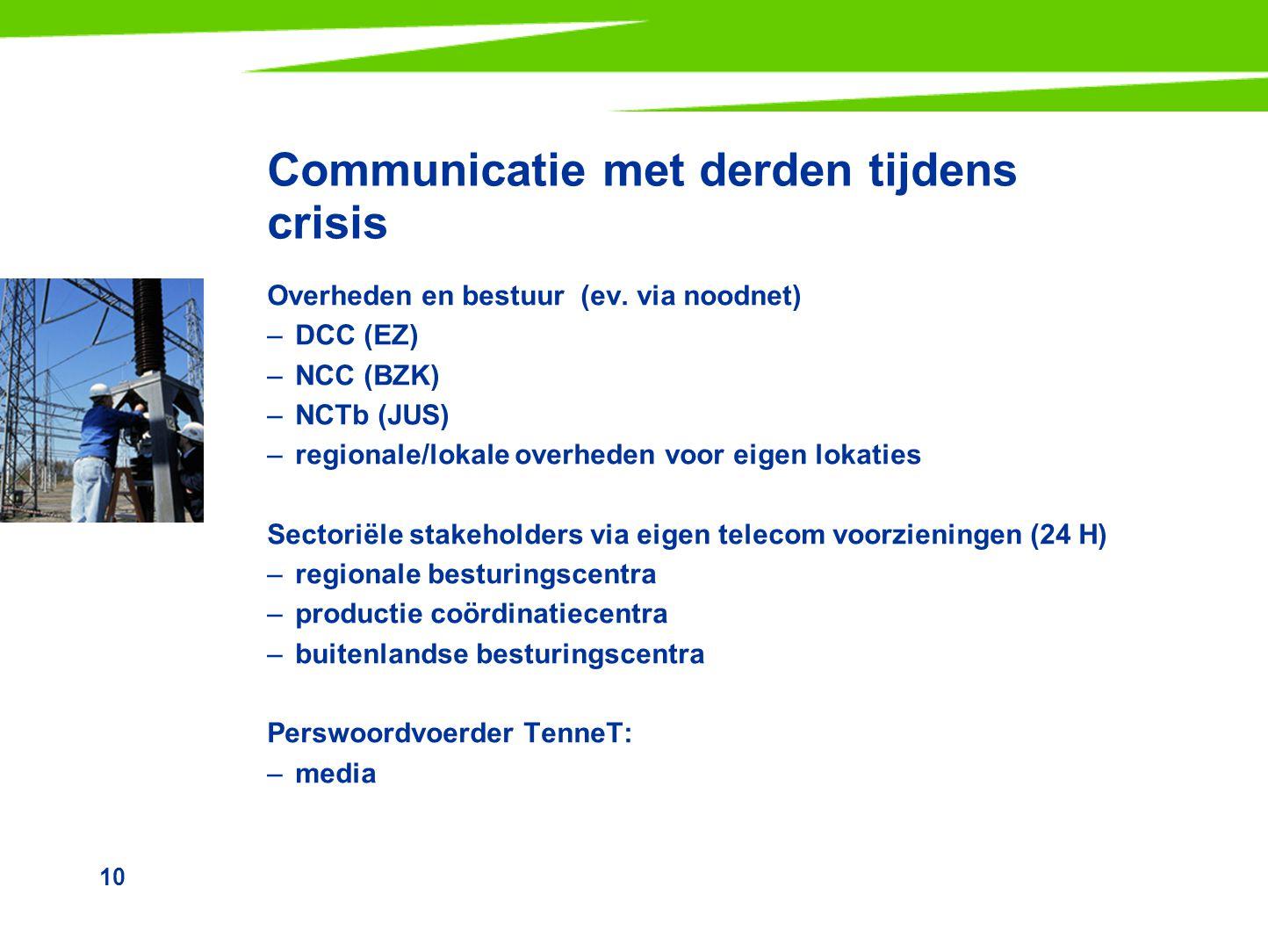 10 Communicatie met derden tijdens crisis Overheden en bestuur (ev. via noodnet) –DCC (EZ) –NCC (BZK) –NCTb (JUS) –regionale/lokale overheden voor eig