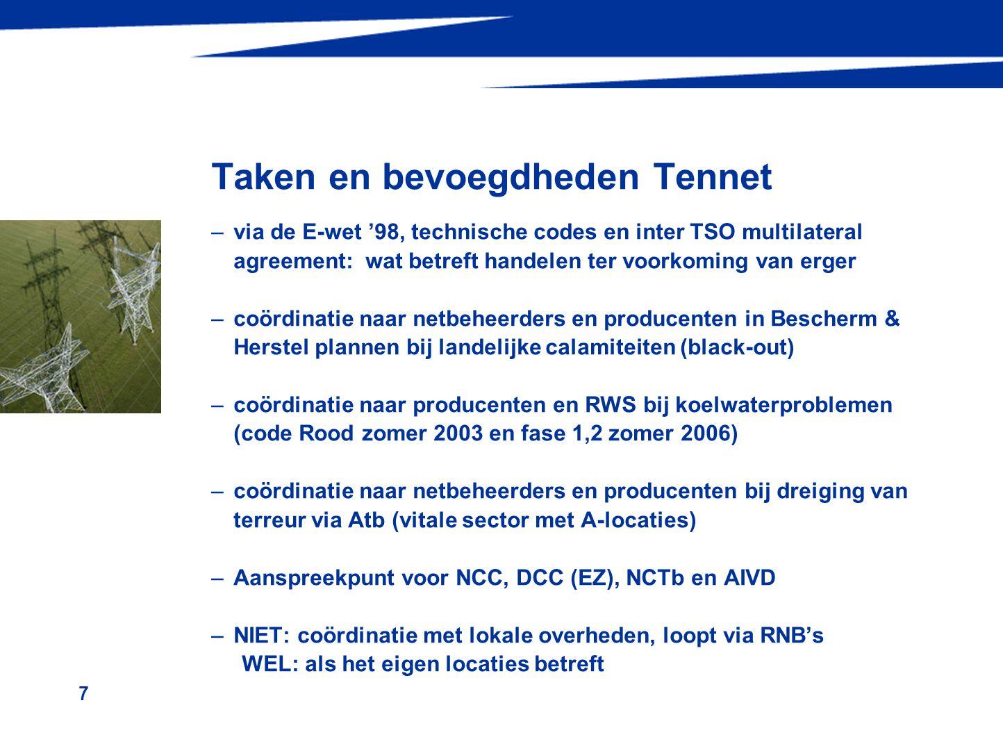 7 Taken en bevoegdheden Tennet –via de E-wet '98, technische codes en inter TSO multilateral agreement: wat betreft handelen ter voorkoming van erger