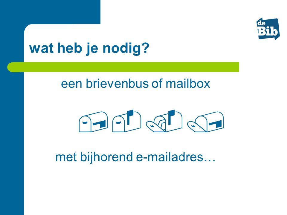 wat heb je nodig? een brievenbus of mailbox met bijhorend e-mailadres… 