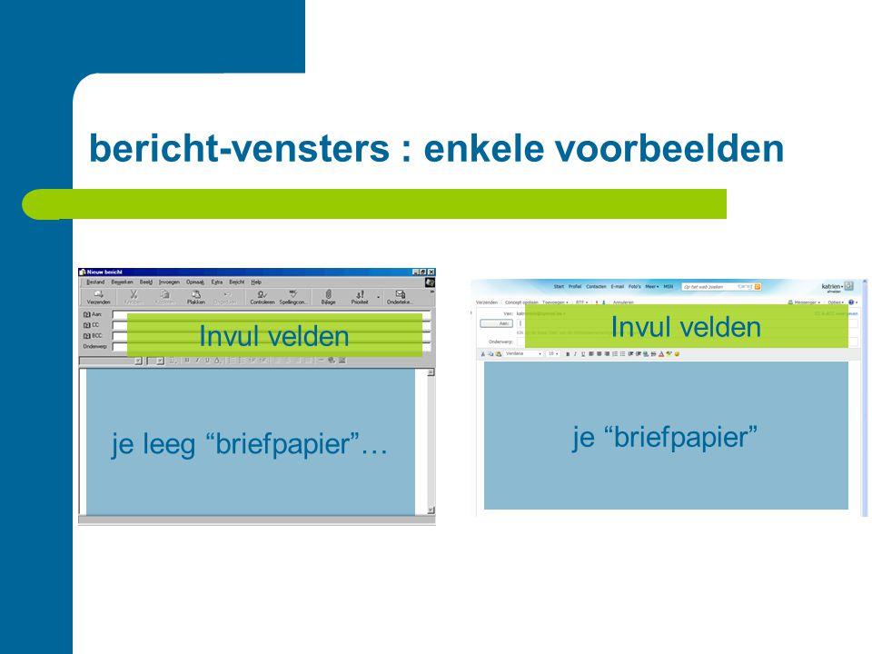 """bericht-vensters : enkele voorbeelden Invul velden je leeg """"briefpapier""""… je """"briefpapier"""""""