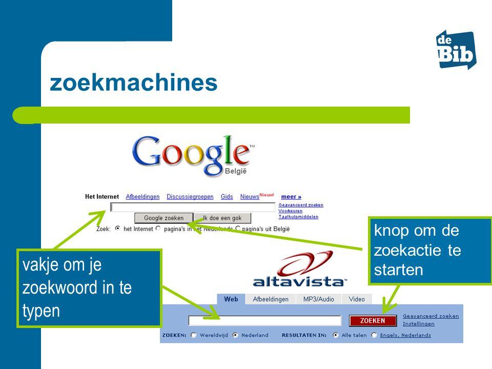 vakje om je zoekwoord in te typen knop om de zoekactie te starten zoekmachines