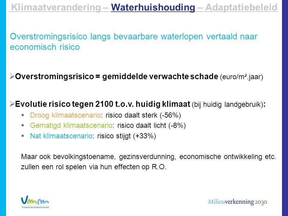 Overstromingsrisico langs bevaarbare waterlopen vertaald naar economisch risico  Overstromingsrisico = gemiddelde verwachte schade (euro/m².jaar)  E