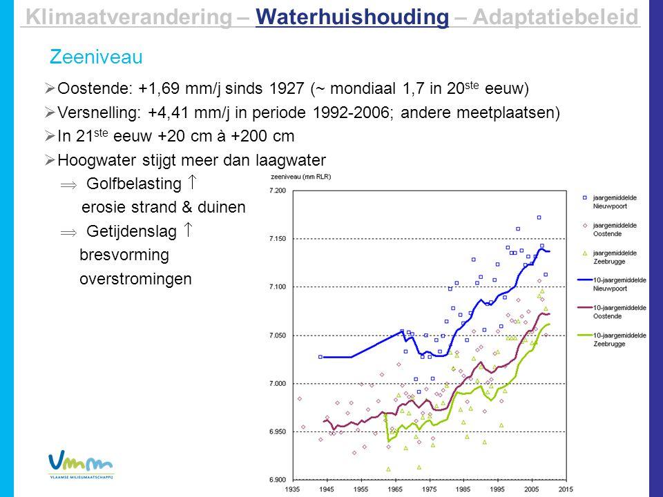 Zeeniveau  Oostende: +1,69 mm/j sinds 1927 (~ mondiaal 1,7 in 20 ste eeuw)  Versnelling: +4,41 mm/j in periode 1992-2006; andere meetplaatsen)  In 21 ste eeuw +20 cm à +200 cm  Hoogwater stijgt meer dan laagwater Klimaatverandering – Waterhuishouding – Adaptatiebeleid  Golfbelasting  erosie strand & duinen  Getijdenslag  bresvorming overstromingen