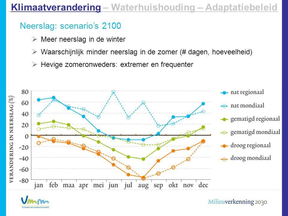 Neerslag: scenario's 2100  Meer neerslag in de winter  Waarschijnlijk minder neerslag in de zomer (# dagen, hoeveelheid)  Hevige zomeronweders: ext