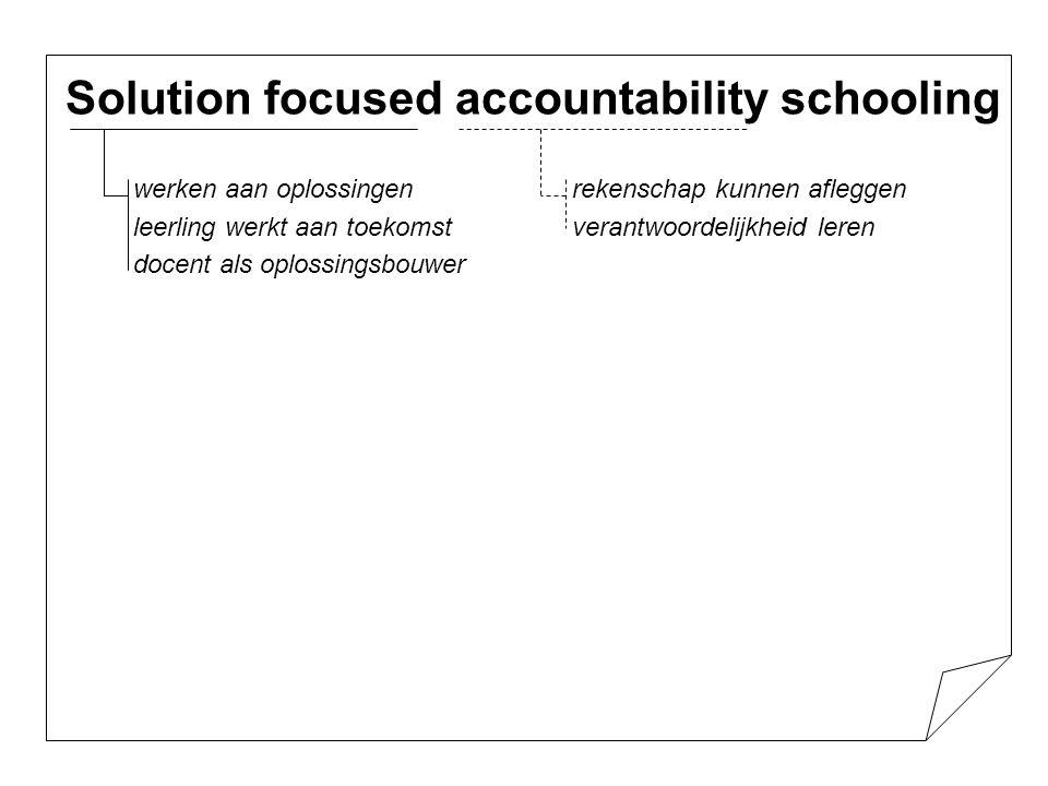 Solution focused accountability schooling - Sleutelwoorden: -Acceptatie -Waardering -Structuur ( duidelijkheid, consistente regels en handhaving) - Leerlingen leren verantwoordelijkheid te nemen (met de docent als eindverantwoordelijke) - Benoemen van positieve vooruitgang en hierop voortbouwen door de leerling via positieve ervaringen zelfvertrouwen te geven.