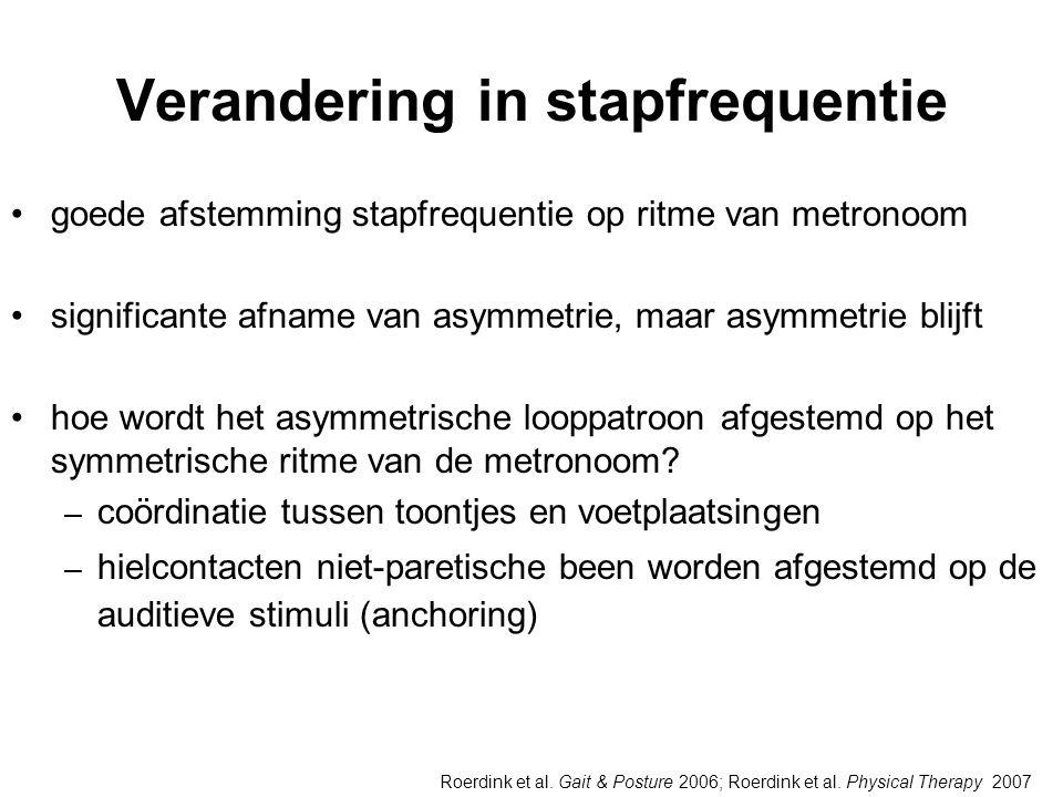 Verandering in stapfrequentie •goede afstemming stapfrequentie op ritme van metronoom •significante afname van asymmetrie, maar asymmetrie blijft •hoe wordt het asymmetrische looppatroon afgestemd op het symmetrische ritme van de metronoom.