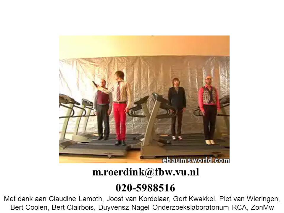 m.roerdink@fbw.vu.nl 020-5988516 Met dank aan Claudine Lamoth, Joost van Kordelaar, Gert Kwakkel, Piet van Wieringen, Bert Coolen, Bert Clairbois, Duyvensz-Nagel Onderzoekslaboratorium RCA, ZonMw