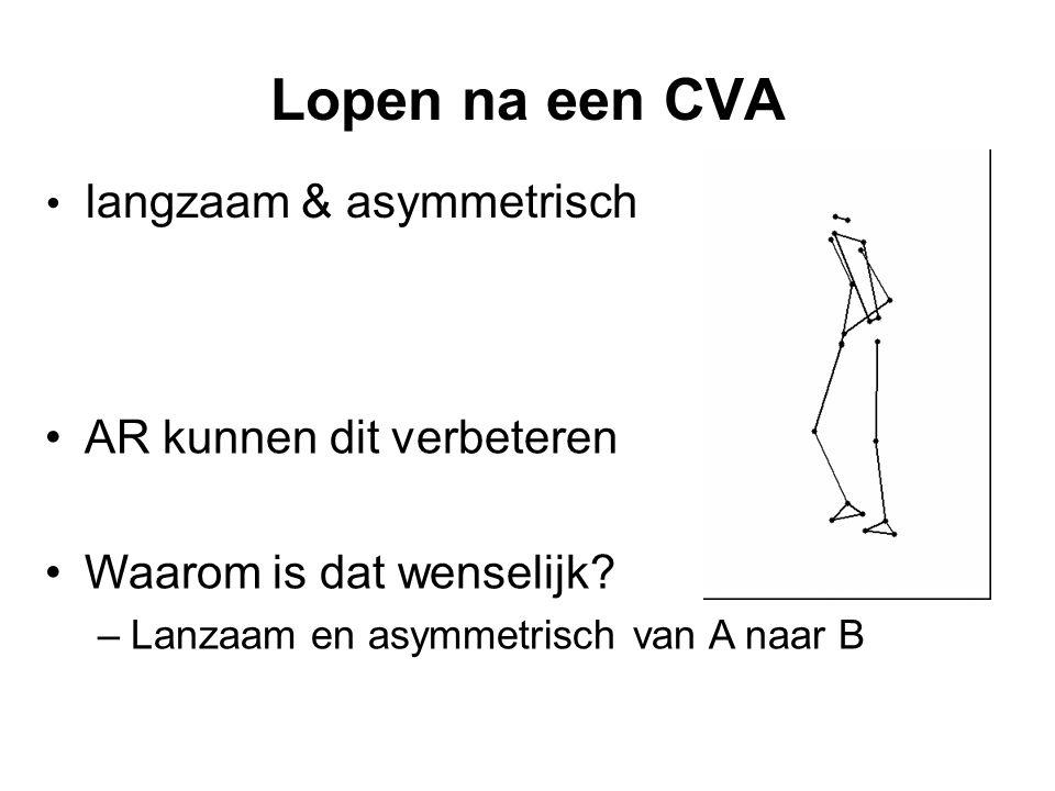 Lopen na een CVA • langzaam & asymmetrisch •AR kunnen dit verbeteren •Waarom is dat wenselijk.