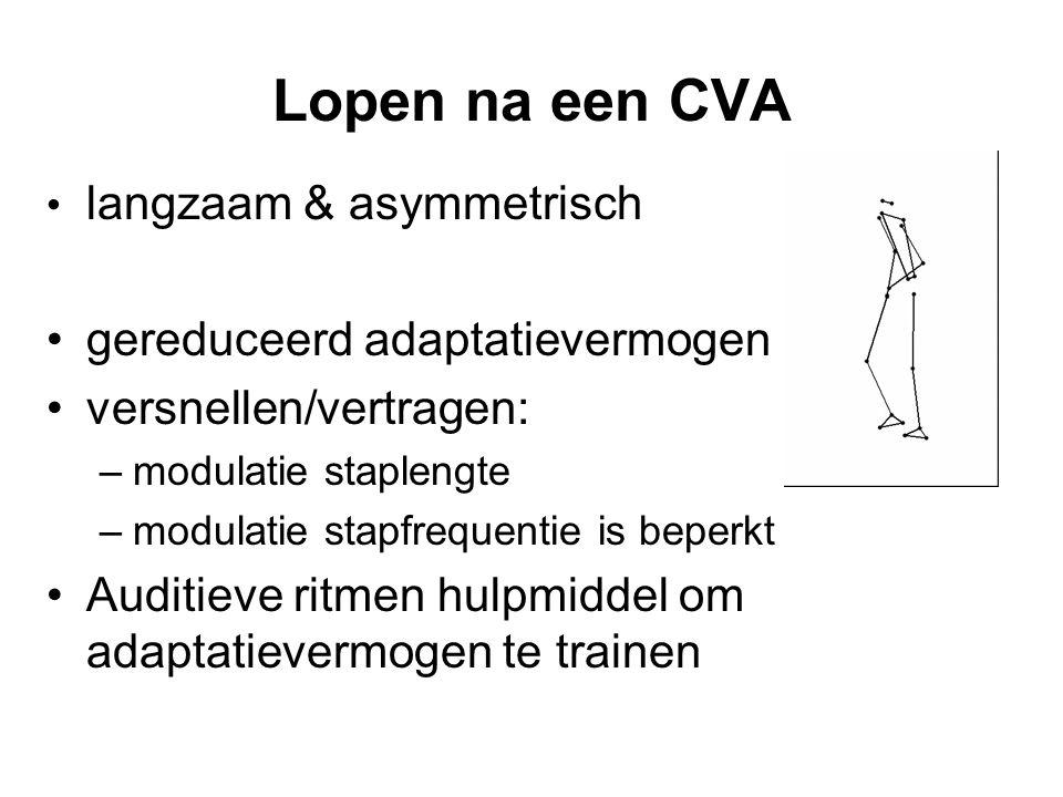 Lopen na een CVA • langzaam & asymmetrisch •gereduceerd adaptatievermogen •versnellen/vertragen: –modulatie staplengte –modulatie stapfrequentie is beperkt •Auditieve ritmen hulpmiddel om adaptatievermogen te trainen