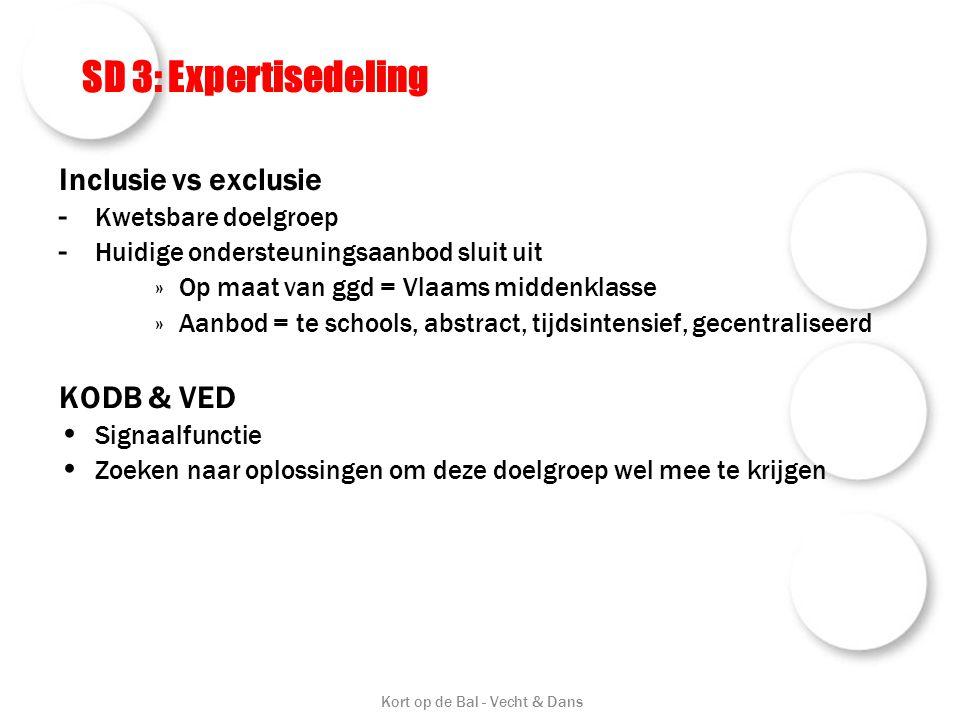 SD 3: Expertisedeling Inclusie vs exclusie - Kwetsbare doelgroep - Huidige ondersteuningsaanbod sluit uit »Op maat van ggd = Vlaams middenklasse »Aanb