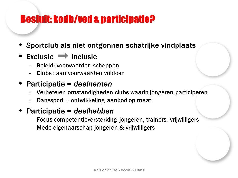 Besluit: kodb/ved & participatie? • Sportclub als niet ontgonnen schatrijke vindplaats • Exclusie inclusie -Beleid: voorwaarden scheppen -Clubs : aan
