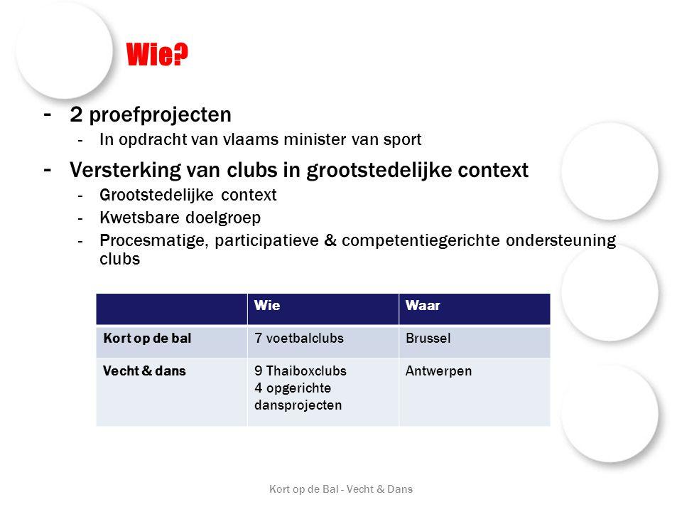 Wie? - 2 proefprojecten -In opdracht van vlaams minister van sport - Versterking van clubs in grootstedelijke context -Grootstedelijke context -Kwetsb