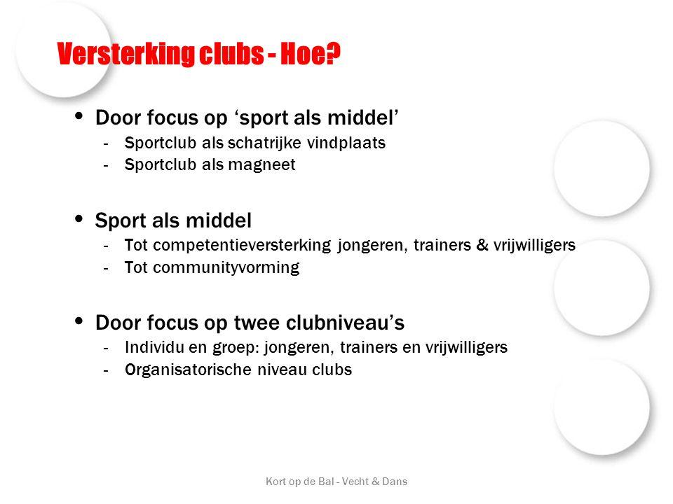 Versterking clubs - Hoe? • Door focus op 'sport als middel' -Sportclub als schatrijke vindplaats -Sportclub als magneet • Sport als middel -Tot compet