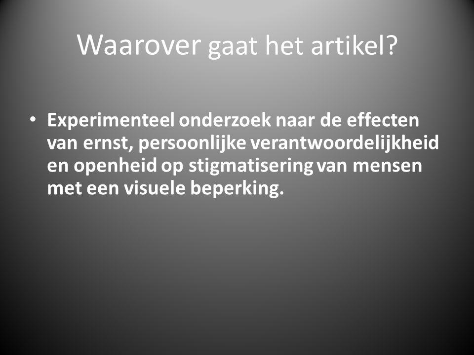 Resultaten • Manipulatiechecks: - ANOVA uitgevoerd * - Klachten blinde testpersoon als ernstiger gezien dan klachten slechtziende testpersoon.