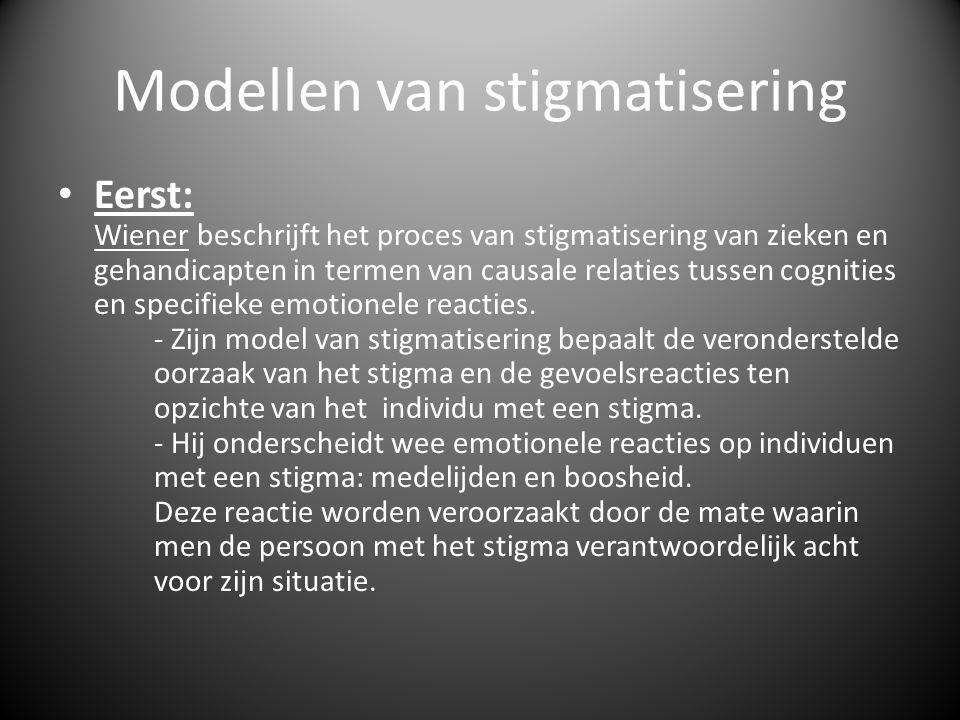Modellen van stigmatisering • Eerst: Wiener beschrijft het proces van stigmatisering van zieken en gehandicapten in termen van causale relaties tussen cognities en specifieke emotionele reacties.