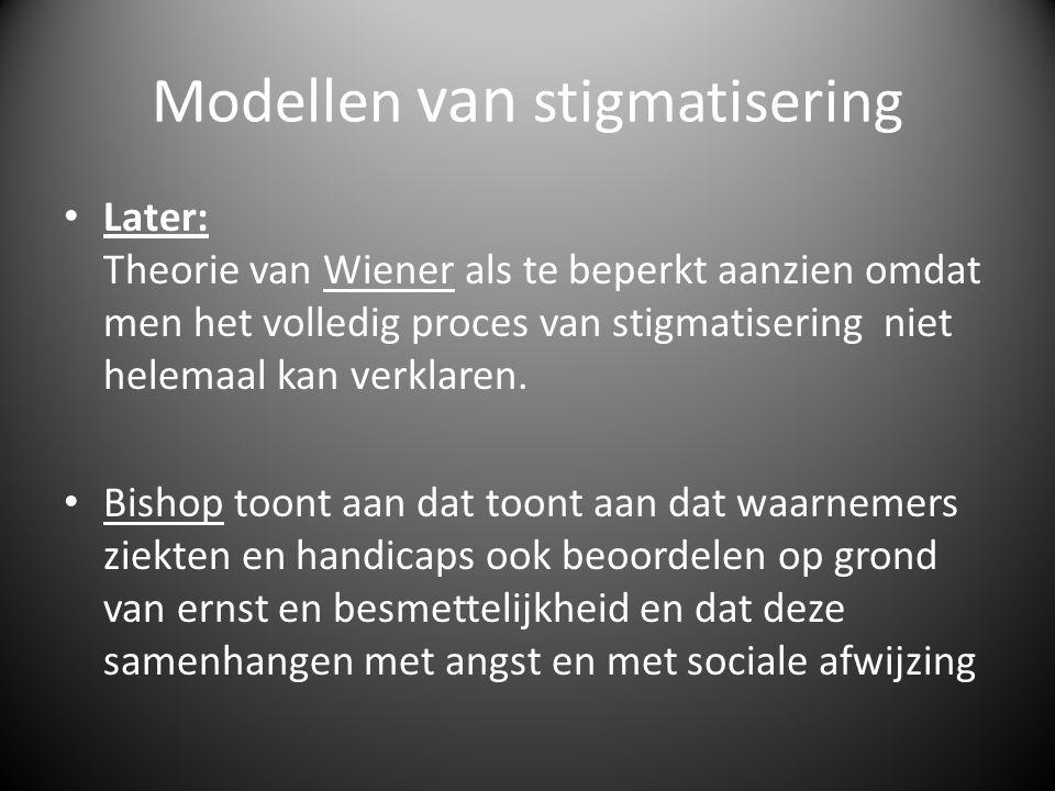 Modellen van stigmatisering • Later: Theorie van Wiener als te beperkt aanzien omdat men het volledig proces van stigmatisering niet helemaal kan verklaren.