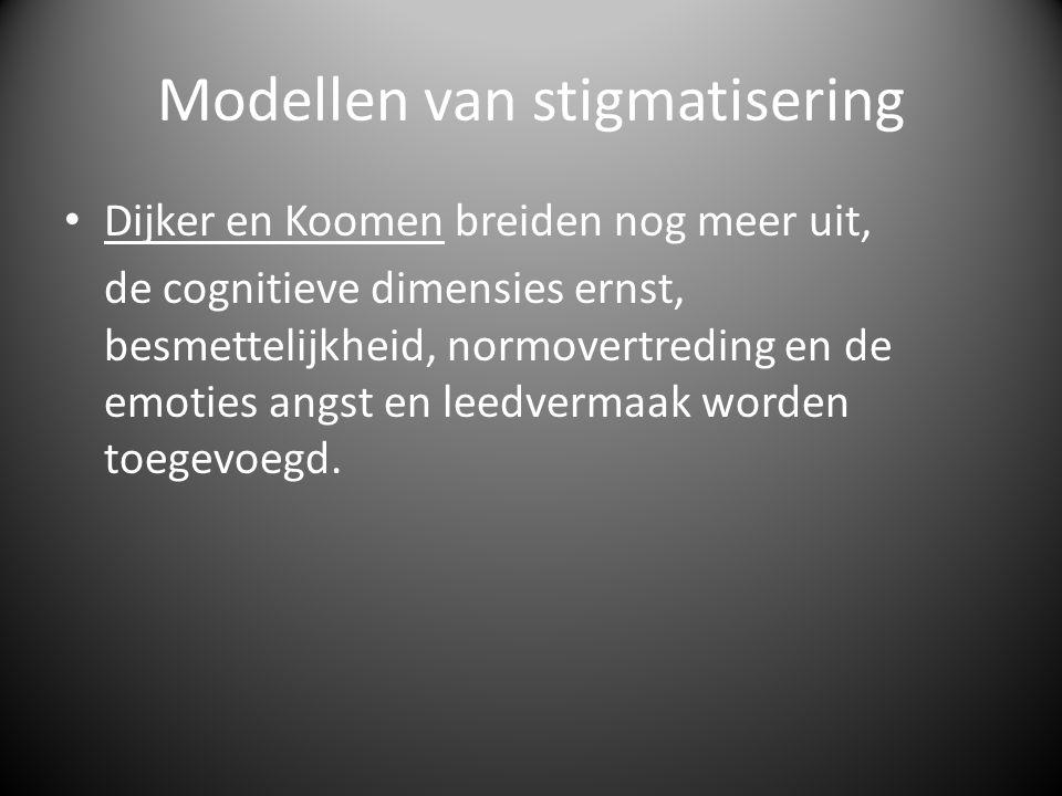 Modellen van stigmatisering • Dijker en Koomen breiden nog meer uit, de cognitieve dimensies ernst, besmettelijkheid, normovertreding en de emoties angst en leedvermaak worden toegevoegd.