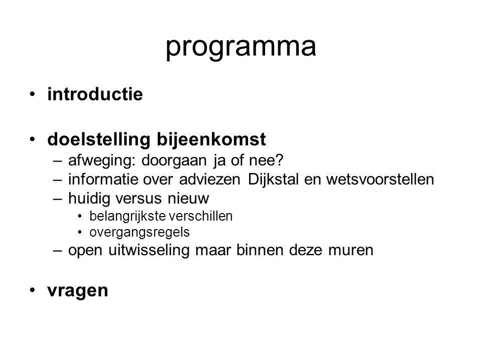 programma •introductie •doelstelling bijeenkomst –afweging: doorgaan ja of nee.